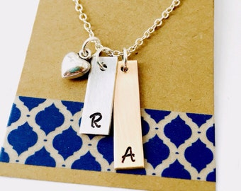 Initial Necklace, Mixed Metal Necklace, Personalized Monogram Necklace, Personalized Tag Necklace, Children's initial Necklace, Mom Necklace