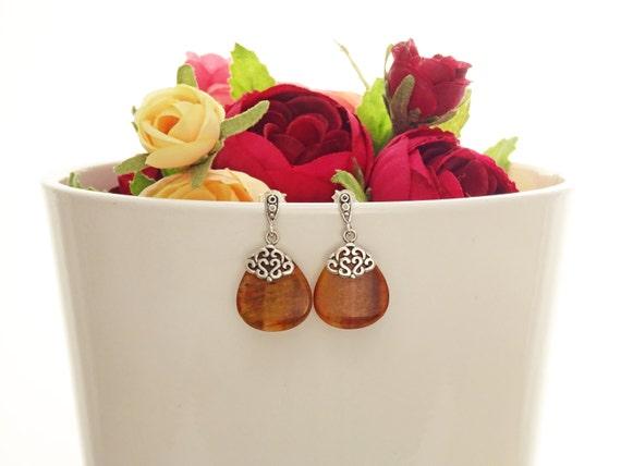 Genuine Red Tiger Eyes Earrings, Sterling Silver, Filigree Earrings, Teardrop Oval Shape,Dangle Earrings,Boho Vintage Antique Design Jewelry