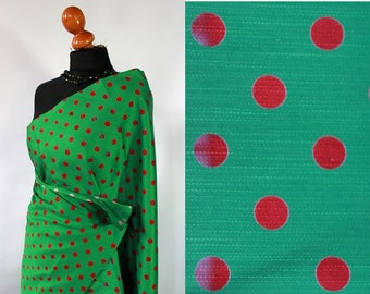 Vintage Polka dot fabric, green ,red, unused 50s