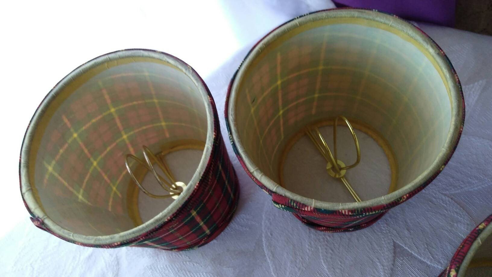 Set of 4 matching plaid tartan chandelier shades red black green yellow shipping arubaitofo Choice Image