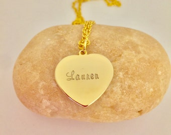 Personalized name Gold Heart Necklace Women Dainty necklace gift