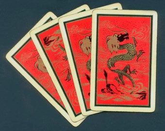 Chinese Dragon Playing Cards for Collage, Altered Books, Mixed Media, ATCs