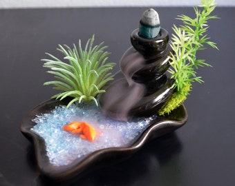 Koi Pond Incense Burner // Aromatherapy Zen Garden // Lucky Bamboo  Waterfall Smoke Buddha