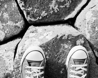 Black and White Photography - Converse at the Causeway Fine Art Photograph - 8x10