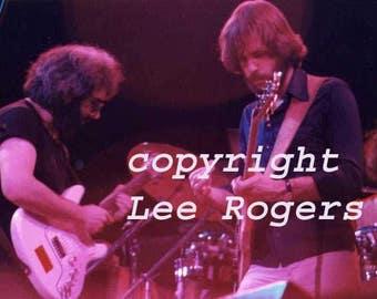 Concert photograph - Grateful Dead close up of Bob Weir & Jerry Garcia, taken 5/7/1977 Boston Garden