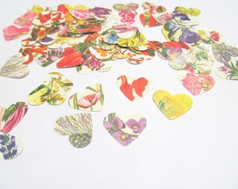 Floral paper hearts: pack of 100 hand punched from vintage botanical books. Embellishments for paper craft, scrapbook, cards PE493