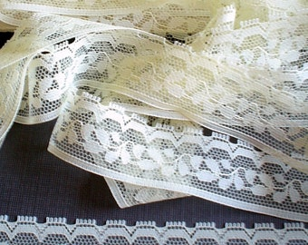 Sale    - 20 Yds - Pale Creamy YELLOW LACE EDGING - 7/8 inch wide