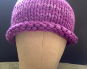 Purple rolled brim beanie