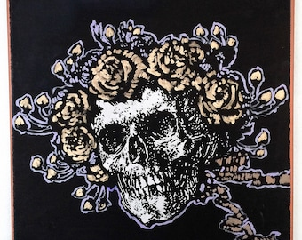 Grateful Dead Original Painting on Canvas Wall Art Skull and Roses by Matt Pecson MADE TO ORDER Boho Decor Hippie Decor Gothic Decor