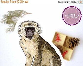 Vervet Monkey Sticker -Animal stickers,Back to school,Monkey decal,Vervet Artwork,Kids planner sticker,Preschool art,Animal lover gift