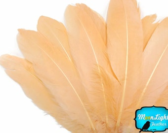 Goose Feathers, 1/4 lb - PEACH Goose Satinettes Loose Wholesale Feathers (bulk) : 3340