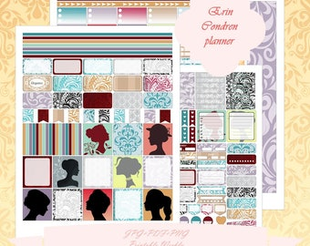 Printable Erin Condren Horizontal planner Weekly kit/ Instant Download / Weekly/ With Cut Files / Girl / Silhouette