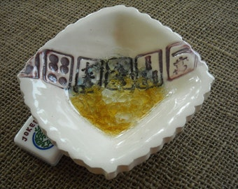 Mahjong Bowl - White Mahjong Pottery - Oriental Bowl - Glass Bottom Bowl - Mahjong Gift