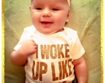 I Woke Up Like This Shirt Baby Girl Clothes Baby Shower Gift Hipster Baby Clothes Baby Girl Shirt Baby Girl Bodysuit Gold Glitter Shirt 102