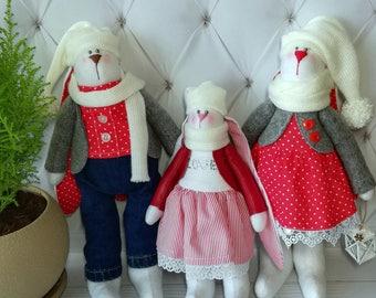 Bunny Family Bunny Tilda Doll Handmade Tilda Rabbit Cuddle Bunny Stuffed Animal Kids room decor