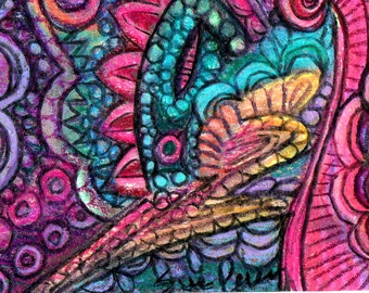 original art aceo drawing colorful abstract zentangle