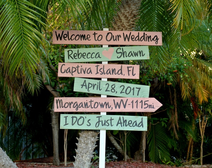 Welcome wedding sign. Wood directional sign. I Do's Rustic beach wedding decor. Wedding Gift for couple idea.