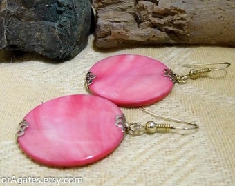 Large Pink Mother Of Pearl Shell Silver Dangle Earrings