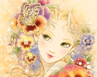 Free Shipping to US - Green Eyed Girl with Pansy Flowers - Pansy - 5x7 Signed Fantasy Art Print - by Mitzi Sato-Wiuff