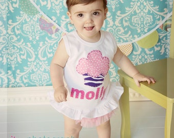 Ruffled Hem Personalized Birthday Cupcake Tank with Light Pink Ruffled Chiffon Diaper Cover/Bloomer and headband/bow