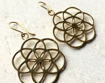 Seed of life earrings,Mandala earrings,Tribal earrings,Ethnic earrings,boho fashion, Gold disc