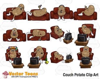 Couch Potato Clip Art, Digital Clipart, Digital Graphics