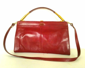 Red Leather Purse Handbag w Shoulder Strap 70s Vintage