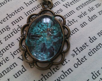 Necklace with genuine dill flower
