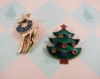 Vintage Christmas Pin SOLD SEPARATELY Reindeer Christmas Tree Brooch Holiday Wear Gift Ideas Under 10 Bucks