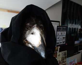 Plague Doctor mask, Paper mache mask, crow mask, raven mask, bird mask, bird costume, masquerade mask, mens masquerade mask, Halloween mask