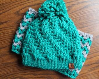 Womens Crochet Hat and Cowl Set