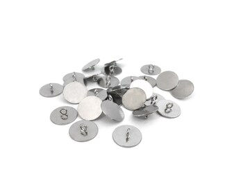 10mm Stainless Steel Button Base Blank, Pendant Base, Cabochon Setting, Bezel Blank Setting, DIY Jewelry, Jewelry Findings