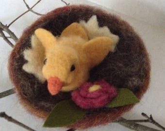 Needle Felted Chick in Nest