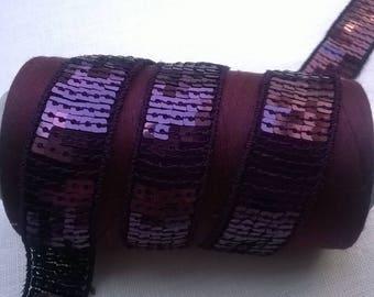 Ribbon SEQUIN GLITTER color plum width 2.2 cm by 50 cm