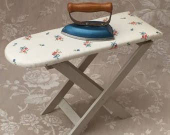 Today is Ironing Day for your French Bebe !!! Adorable Vintage MidCentury TOY Iroing TABLE and its lovely Baby Clothes IRON