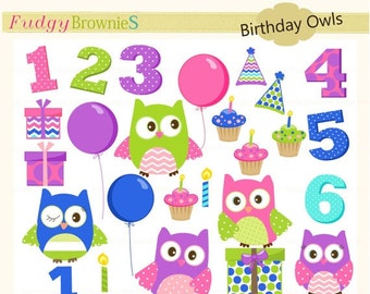 ON SALE Owl clip art,kids birthday invite clip art,owl clip art, invites,cards,scrapbook,cupcake,numbers,INSTANT Download