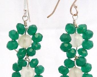 Emerald Flowers -- Green onyx and moonstone dangling earrings