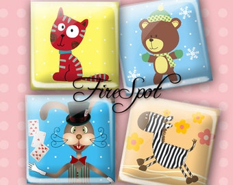 Cartoon animals cat zebra Rabbit - Digital Collage Sheet 1.5inch,1 inch,25 mm,20 mm Square Glass Pendants,downloadable images Scrapbooking