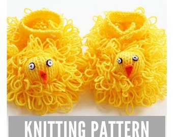 Easter Chick Slippers Knitting Pattern, Easter, easy knit baby slippers, baby knitting patterns, baby knitting, knitting pattern