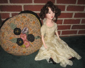 Vintage 1920s French Composition Brunette Boudoir Doll as found