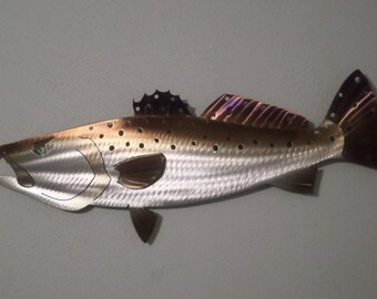 One of a kind Hand-Made,Free Hand-Cut,Heat-Treated/Torched Colored Speckled Trout/Spotted Seatrout