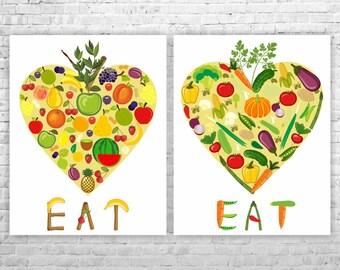 Kitchen Art Prints, Kitchen Wall Decor, Food Print, Colorful Art, Kitchen Wall Art, Kitchen Poster Print, Wall Art Kitchen, Set of 2 Prints