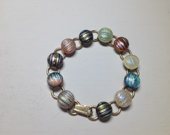 Handcrafted stained glass dichroic bracelet.