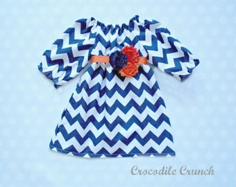 Girls Fall Dress - Navy Chevron Dress with Orange and Navy Flower Belt and 3/4 Length Sleeves - Girls Dresses - Baby Girl Dress - Baby Girl