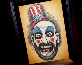 Horror Star Captain Spaulding  Art Print 5x7 By Agorables Lords of the Undead -- Ruler of Monsters Rob ZOmbie