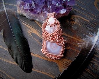 Solar Quartz // Rose Quartz // Agate Slice // Copper Wire Wrapped Pendant // Heady Wrap // Copper Jewelry //
