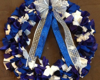 Blue and Purple Wreath with Silver Shine