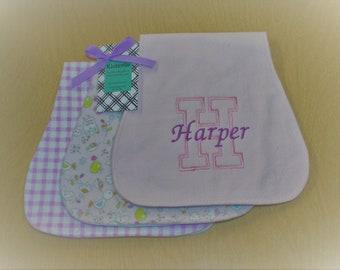 Light Pink Birds & Owls, Lilac Checks, Personalized Burp Cloth Set of 3