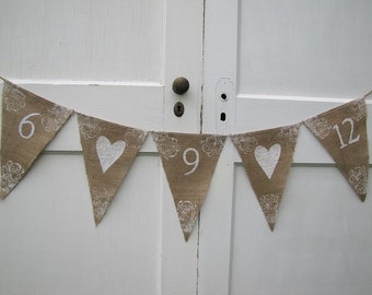 Save The Date Wedding Glittered Burlap Banner