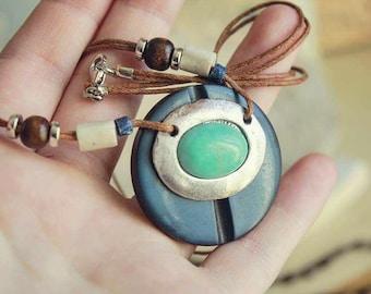 Turquoise and Navy boho pendant necklace